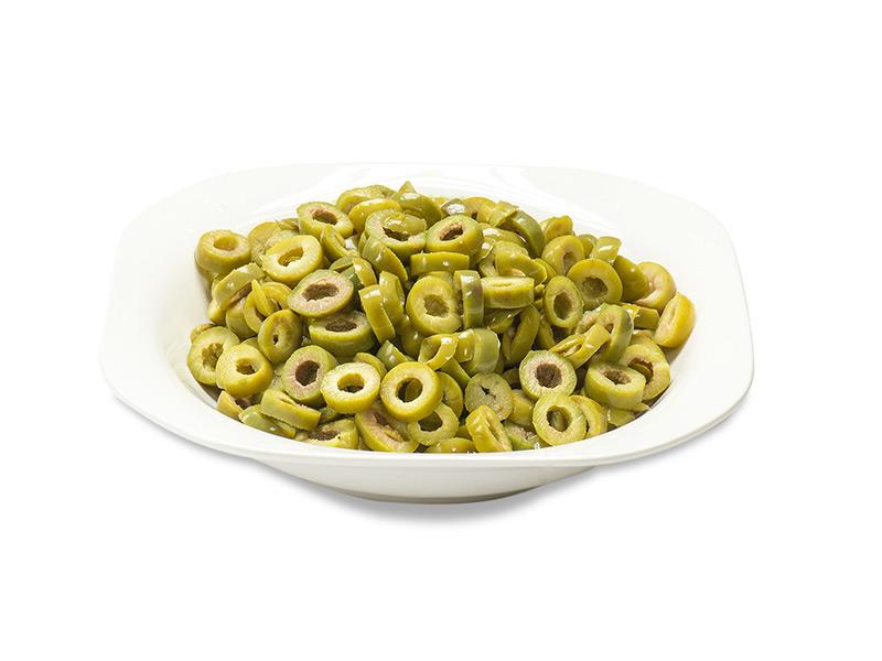 Olive verdi a rondelle in salamoia